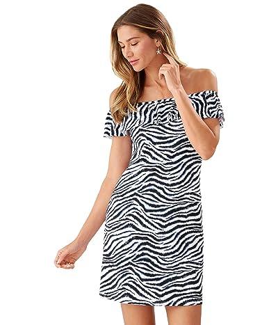 Tommy Bahama Zanzibar Zebra Off-the-Shoulder Spa Dress Cover-Up