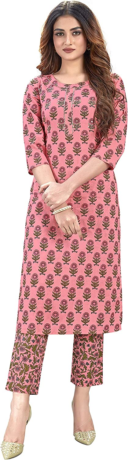 Women's Rayon Indian Ethnic New Special price Free Shipping Tunic Kurti-Palazzo for Top Set Wome