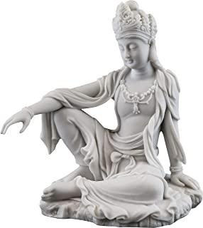 Top Collection Water & Moon Quan Yin Royal Ease Pose Statue- Buddhist Kwan Yin Goddess of Compassion and Mercy Sculpture in White Marble Finish - 7.25-Inch Collectible Figurine