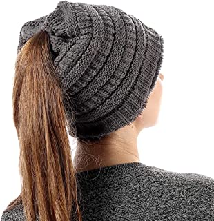 Womens Ponytail Beanie Hats Warm Fuzzy Lined Soft Stretch Cable Knit Messy High Bun Cap, 18 Colors