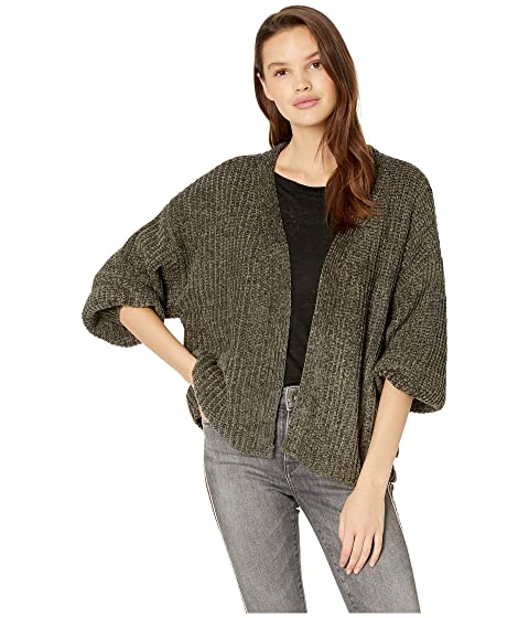 ROMEO & JULIET COUTURE Oversized Chenille Cardigan, Olive