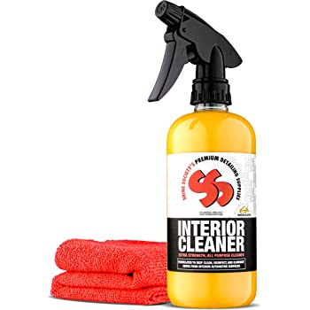 Shine Society Interior Cleaner with Free Microfiber Towel, 100% All Natural Extra Strength Formula, for Use On Upholstery, Vinyl, Leather, Plastic, and Most Car Surfaces (18 oz.)