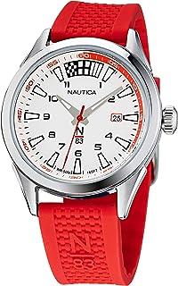 Nautica Men's Quartz Silicone Strap, Red, 20 Casual Watch (Model: NAPHBS118)