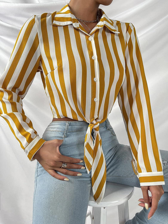 Milumia Women Striped Button Down Collar Blouse Crop Top Tie Front Long Sleeve Shirt