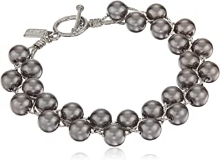 Silver-Tone Simulated Pearl Toggle Bracelet
