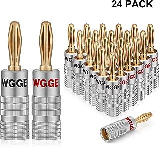 WGGE WG-009 Banana Plugs Audio Jack Connector, 24k Gold Dual Screw Lock Speaker Connector (12 Pairs (24 Plugs))