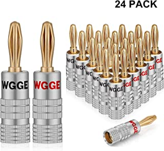 WGGE WG-009 Banana Plugs Audio Jack Connectors, 24k Gold Dual Screw Lock Jack Speaker Banana Connectors for Speaker Wire, Wall Plate (12 Pairs (24 Plugs))