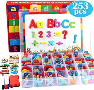 Best 253 PCS Magnetic Letters Numbers with Magnetic Board and Storage Box Foam Alphabet ABC Refrigerator Magnets Educational Toys for Kids Children Toddlers Review