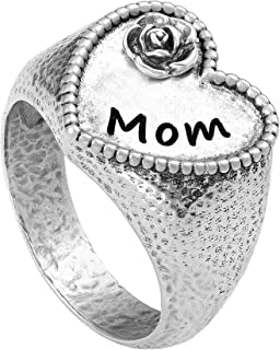 PZ Paz Creations 925 Sterling Silver MOM Heart Shaped Signet Ring