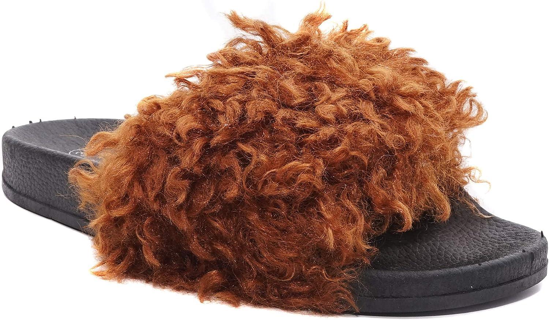 Charles Albert Soft Footbed Fur Slide Sandal