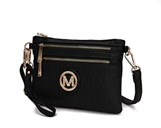 MKF Crossbody Bags for Women - Removable Adjustable Strap Handbag Wristlet - Small Vegan Leather Messenger Purse Black