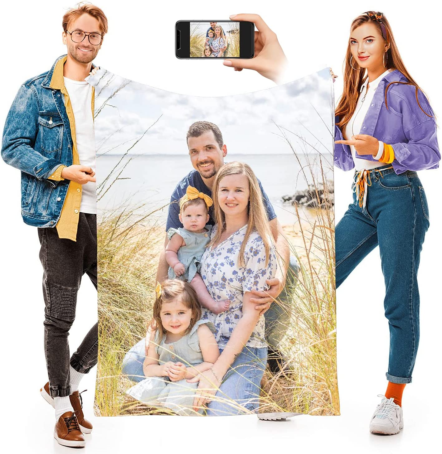 Customize Happy Family Portrait in Memory Blanket Ranking San Jose Mall TOP8 Loving with P