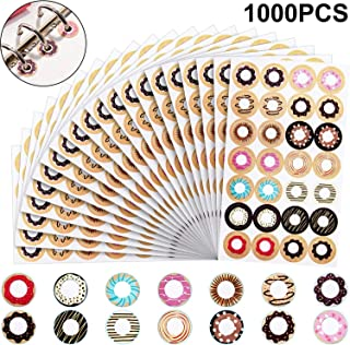 Self Adhesive Set of Fashion Loose-Leaf Paper Reinforcement Labels, Assorted Donut Designs, Great for School, Home and Office (Style A)