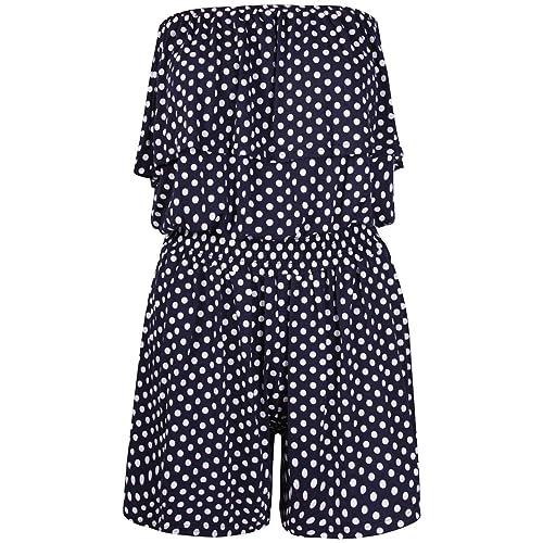 Women's Ladies Polka Dot Frill Bandeau Short Playsuit ladies playsuit Size 8-22