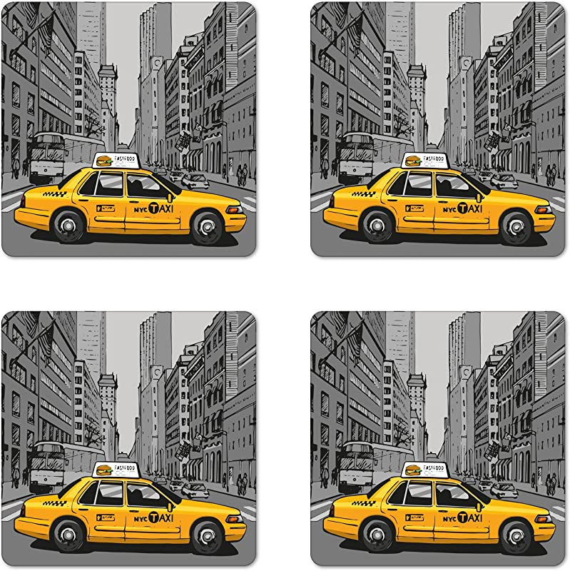 Lunarable American Coaster Set Of 4 New York City Metropolitan Buildings And Taxi Cartoon Sketchy Image Square Hardboard Gloss Coasters Standard Size Yellow Grey