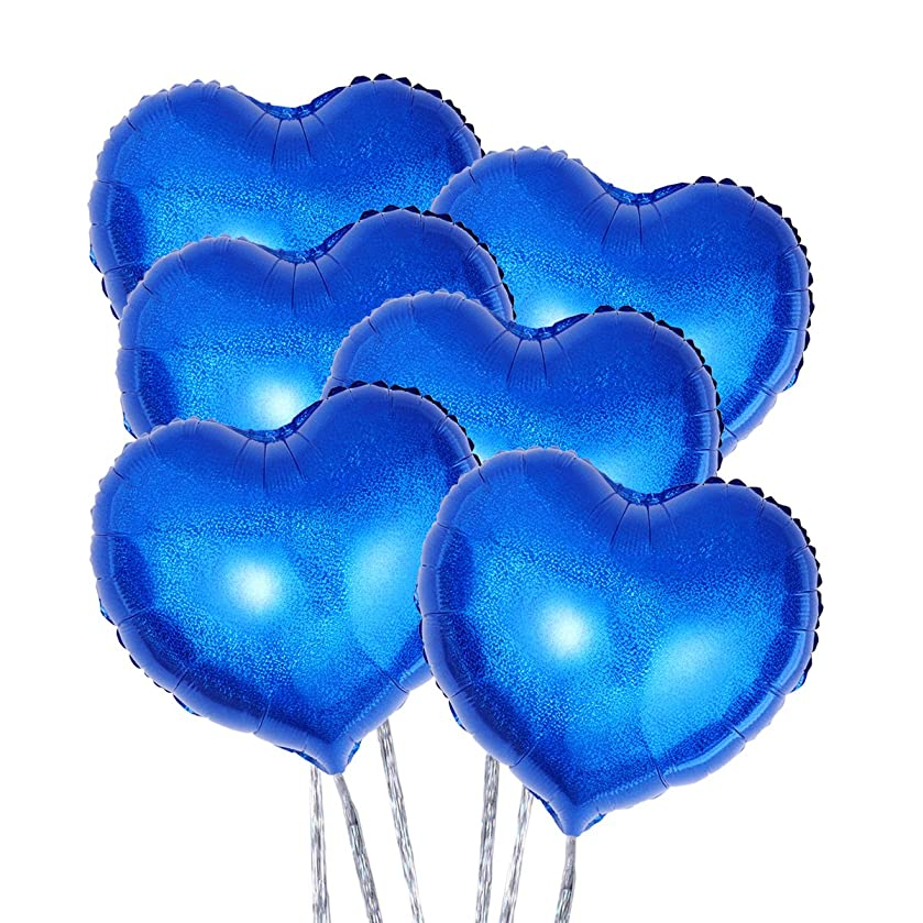 Toyvian Foil Balloon Blue 18-Inch Heart-Shaped and Silver Ribbon Party Decoration (6pcs)
