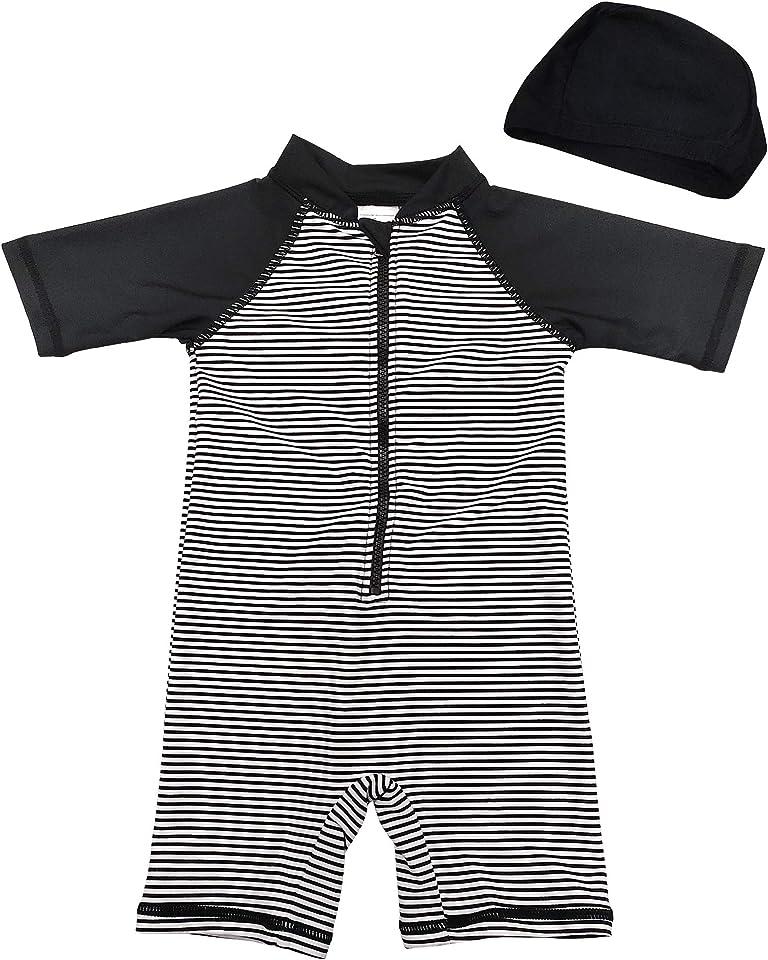 Baby Boy UPF50+ Sunsuit S/S One-Piece Zipper Kids Swimsuit UV Sun Protection