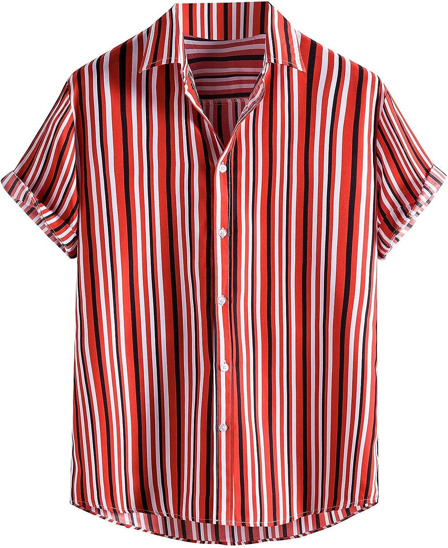 Men Hawaiian Shirts Button Down Short Sleeve Tropical Shirt Beach Aloha Print Shirt Summer Casual Blouse