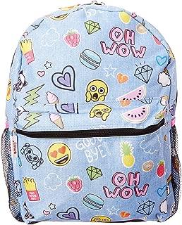 Fab Emoji Denim Sticker Backpack, 16