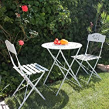 OC Orange-Casual 3-Piece Floral Bistro Set, Steel Folding Dining Table and Chairs Garden Backyard Outdoor Furniture Set, Decorative Design-White