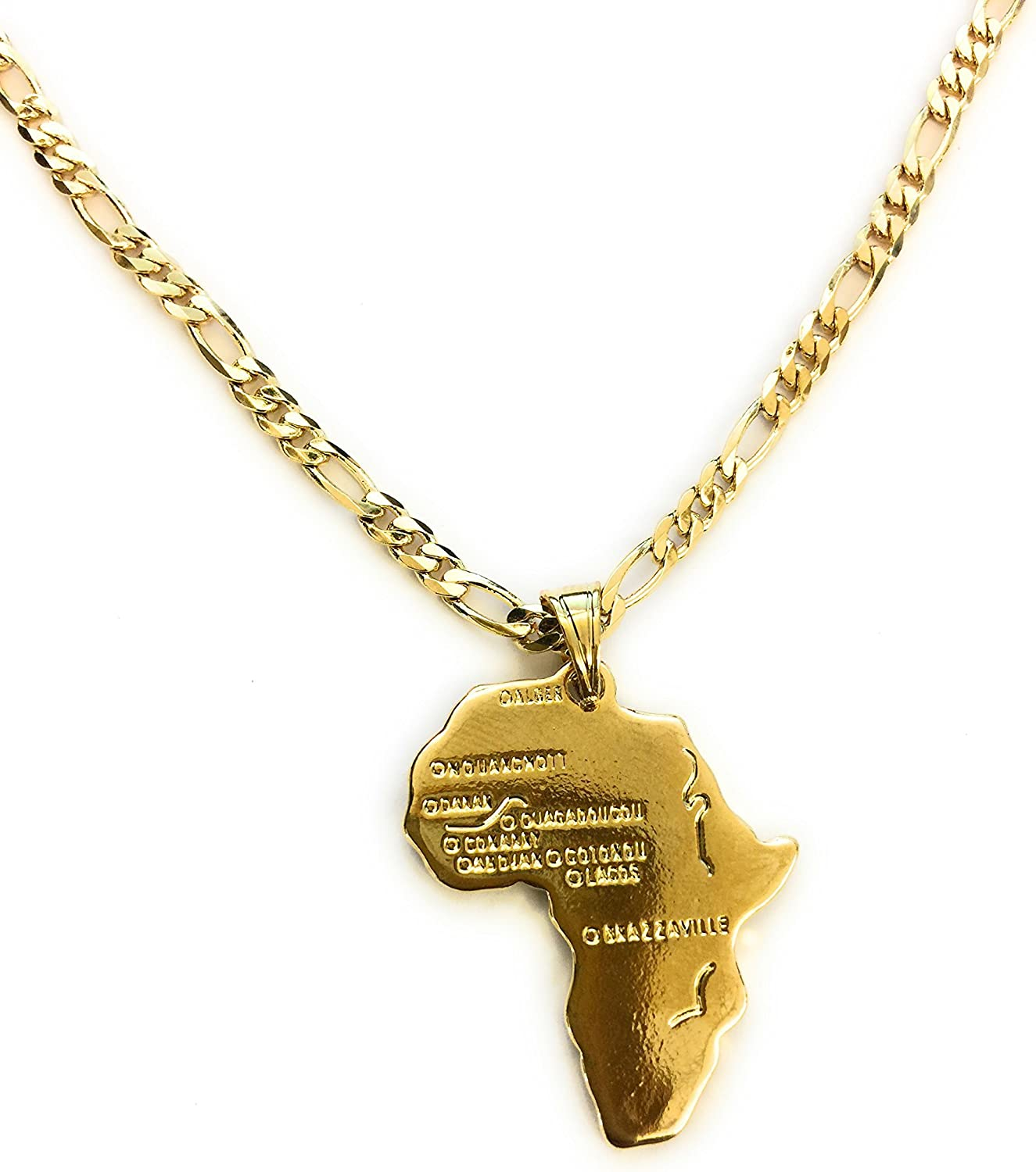 Black White Gold Boutique Africa Continent Pendant with 24k Gold Plated Chain-Unisex-Thick 24 Inch Gold Chain Necklace-Gold Africa Pendant