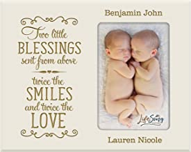 Personalized New Baby Gifts for Twins Picture Frame for Boys and Girls Custom Engraved Photo Frame for New Parents Nana,Mimi and Grandparents (Ivory)