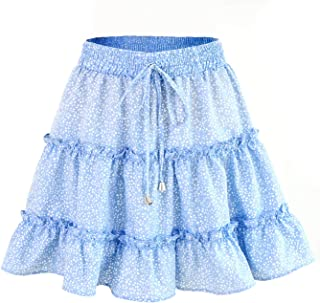 BKTOPS Ruffled Mini Skirt for Women Summer Bohe High Waist Floral Print Beach Short Skirt