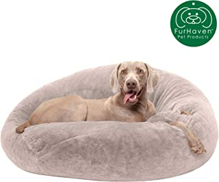 Furhaven Pet Dog Bed   Round Plush Faux Fur Refillable Ball Nest Cushion Pet Bed w/ Removable Cover for Dogs & Cats, Shell (Tan), Large