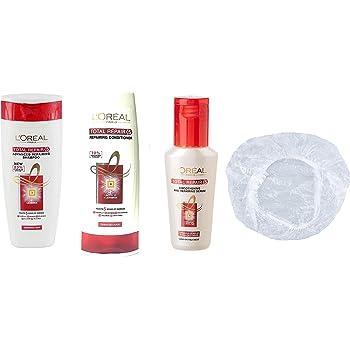 L'Oreal Total Repair 5 Advanced Repairing Set Of 4 (Shampoo 175Ml, Conditioner, Serum, And Shower Cap)