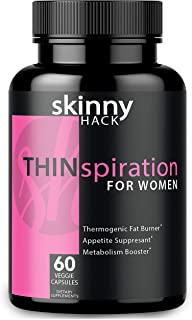 SkinnyHack - Thermogenic Fat Burner for Women - Weight Loss Pills, Metabolism Booster & Appetite Suppressant (60 Vegan Diet Pills for Women)