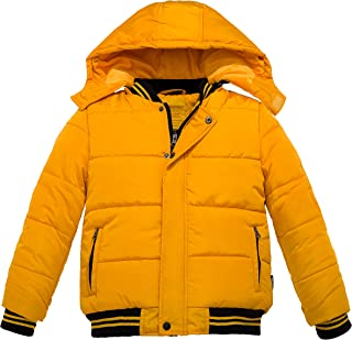 511b6e6979b Wantdo Abrigo Acolchado de Invierno para Niño con Capucha Extraíble A Prueba  de Viento