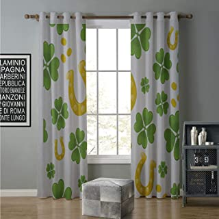 alilihome Blackout Curtain soundproof 120 by 108 Inch Rock,Irish Luck Symbols Horse Shoe Coins and Four Leaf Clovers Pattern,Apple Green and Yellow