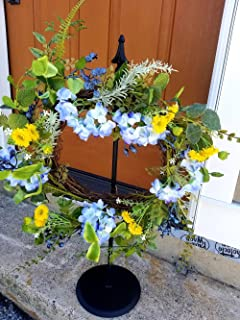 Wrought Iron Standing Wreath Hanger With Finial - Hand Made By Amish Of Lancaster County PA. - Wreath Not Included