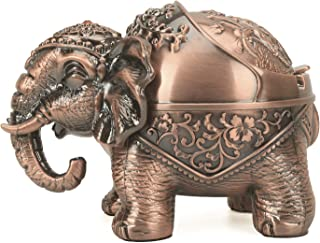 LAUYOO Elephant Metal Ashtray with Lid Vintage Cigarettes Ashtray for Outdoors Indoors Smoking Ash Tray for Home Office De...