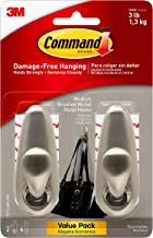 Command Brushed Nickel Forever Classic Metal Hook, Holds 3 lbs, Decorate Damage-Free, Indoor Use (FC12-BN-2ES)