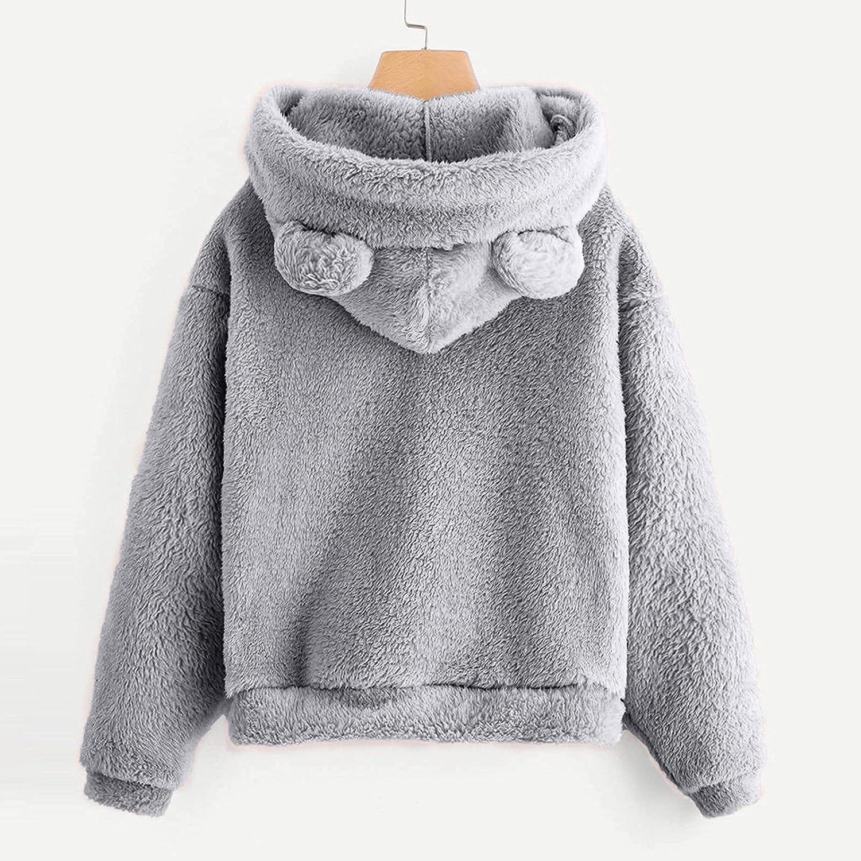 Cute Teddy Bear Hoodie Coat for Womens Teen Girls Bear Shape Fleece Sweatshirt Long Sleeve Fuzzy Hoodie Sweater Pullover