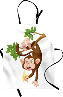 Ambesonne Cartoon Apron, Funny Monkey Hanging from Tree and Holding Banana Jungle Animals Theme Print, Unisex Kitchen Bib with Adjustable Neck for Cooking Gardening, Adult Size, Chocolate White