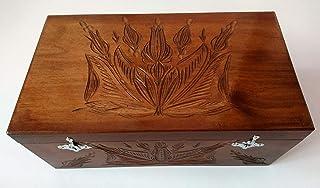 Caja de almacenaje chocolate marrón enorme grande especial joyeros caja de madera tallada mano caja del té del café del re...