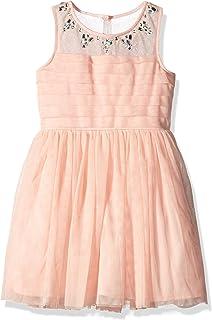 فستان للفتيات من My Michelle بدون أكمام مع خط عنق من أحجار الراين ونير شفاف بثنيات علوية وتنورة من التل