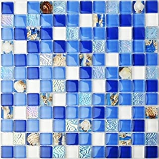 Beau TST Glass Conch Tiles Beach Style Sea Blue White Glass Mosaic Mother Of  Pearl Resin For