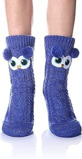 Women's Soft Cute Cable Knit Animal Warm Fuzzy Fleece Lining Winter Cozy Home Slipper Socks