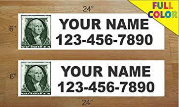 2-6x24 Custom Photo Black Text Real Estate Rider Sign Name and Phone Picture Pic