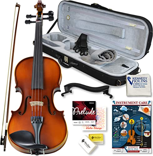 Bunnel Pupil Violin Outfit 4/4 Full Size By Kennedy Violins - Carrying Case and Accessories Included - Solid Maple Wo...