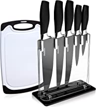 7 Piece Kitchen Knives Set With Block And Plastic Cutting Board, Culinary Kitchen Knife Set With Acrylic Stand, Pro Grade Stainless Steel Blades, TPR Black Handles