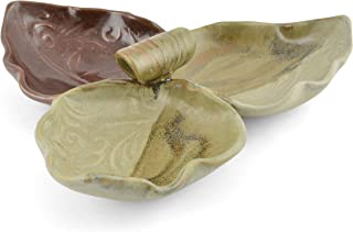 Terry Acker Pottery Leaf Triple Condiment Dish, Brown/Cream