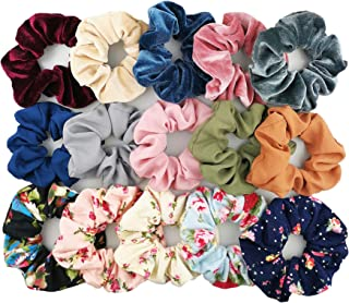 Homerove 15pcs Hair Scrunchies,Velvet,Chiffon,Cotton Elastic Hair Bands,Scrunchy Hair Ties Ropes for Women or Girls Hair Accessories – 5 Vintage Velvet,5 Solid Colors Chiffon,5 Soft Flowered Cotton