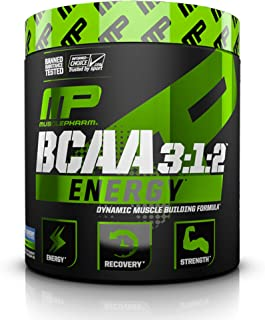 MP Essentials Amino Energy, 6 Grams of BCAA Powder, with Caffeine and Green Tea, BCAA Energy for Pre Workout or Anytime Energy, MusclePharm, Blue Raspberry, 30 Servings