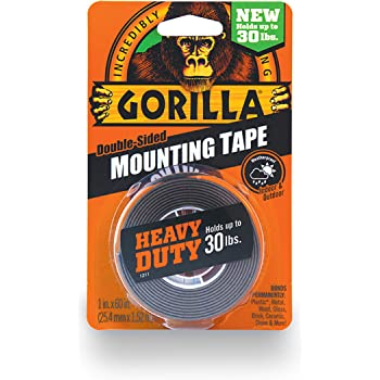 "Gorilla Heavy Duty Double Sided Mounting Tape, 1"" x 60"", Black, (Pack of 1)"