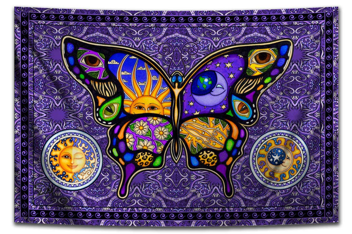 Max 66% OFF Butterfly Night and Day Hippie Dan Sacramento Mall Morris Tapestry by Artist