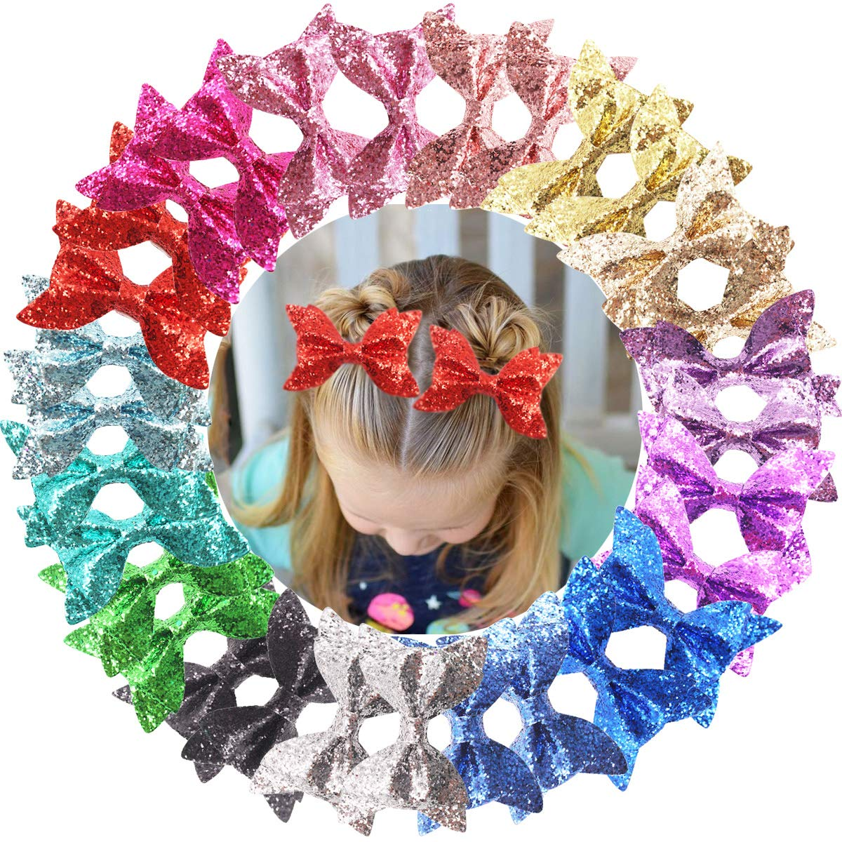 30PCS Baby Girls overseas Oakland Mall Glitter Hair Sparkly Clips 4.3Inch Bows